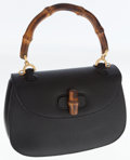 Luxury Accessories:Bags, Gucci Black Leather Classic Bamboo Top Handle Bag. ...