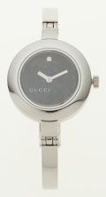 Luxury Accessories:Accessories, Gucci Stainless Steel 105 Wrist Watch with Black Dial and Diamond. ...