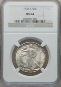Walking Liberty Half Dollars: , 1936-S 50C MS64 NGC. NGC Census: (434/612). PCGS Population(720/896). Mintage: 3,884,000. Numismedia Wsl. Price for proble...