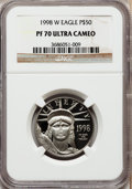 Modern Bullion Coins: , 1998-W P$50 Half-Ounce Platinum Eagle PR70 Ultra Cameo NGC. NGCCensus: (455). PCGS Population (420). Mintage: 13,919. Numi...