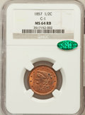 Half Cents, 1857 1/2 C MS64 Red and Brown NGC. CAC. C-1, B-1, R.2....