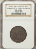 Colonials: , 1783 1C Washington & Independence Cent, Small Military Bust,Engrailed Edge AU55 NGC. NGC Census: (3/2). PCGS Population (7...