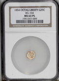 California Fractional Gold: , 1854 25C Liberty Octagonal 25 Cents, BG-104, R.4, MS63 ProoflikeNGC. A nicely reflective yellow-gold example that has mino...