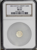 California Fractional Gold: , 1853 50C Liberty Octagonal 50 Cents, BG-304, Low R.5, MS63 NGC. Ayellow-gold example with pleasing luster. Despite scatter...