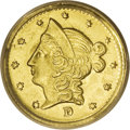 California Fractional Gold: , 1853 50C Liberty Round 50 Cents, BG-421, R.4, MS65 PCGS. A pleasingGem example of this Wreath Reverse fractional, with the...