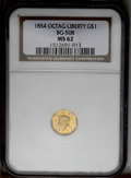 California Fractional Gold: , 1854 $1 Liberty Octagonal 1 Dollar, BG-508, High R.4, MS62 NGC. Apleasing Mint State representative of this scarce octagon...