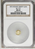 California Fractional Gold: , 1873 25C Liberty Octagonal 25 Cents, BG-727, High R.4, MS65 NGC.Rather reflective, though not sufficiently so for a proofl...