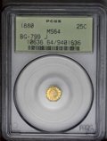 California Fractional Gold: , 1880 25C Indian Octagonal 25 Cents, BG-799J, R.3, MS64 PCGS. Anattractive Indian Head design octagonal quarter dollar with...