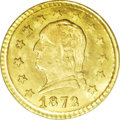 California Fractional Gold: , 1872 25C Washington Round 25 Cents, BG-818, Low R.4, MS65 PCGS.This Washington Head coinage is significant for its appeal ...