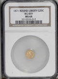 California Fractional Gold: , 1871 25C Liberty Round 25 Cents, BG-859, Low R.6, MS64 NGC. Choiceand subtly lustrous, this piece has a yellow-gold obvers...