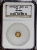 California Fractional Gold: , 1870 25C Goofy Head Round 25 Cents, BG-867, R.4, MS64 ProoflikeNGC. Choice and highly reflective with a significant blush ...