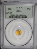 California Fractional Gold: , 1852 25C Indian Round 25 Cents, BG-891, Low R.5, MS64 PCGS.Typically struck with highly reflective reddish-orange surfaces...