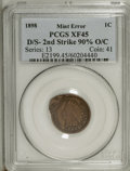 Errors: , 1898 1C Indian Cent--Double Struck, Second Strike 90% Off Center--XF45 PCGS. The first strike was normal, but the piece was...