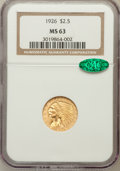 Indian Quarter Eagles: , 1926 $2 1/2 MS63 NGC. CAC. NGC Census: (4204/4042). PCGS Population(3119/3198). Mintage: 446,000. Numismedia Wsl. Price fo...