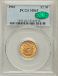 Liberty Quarter Eagles: , 1903 $2 1/2 MS63 PCGS. CAC. PCGS Population (1580/2132). NGCCensus: (1256/2306). Mintage: 201,000. Numismedia Wsl. Price f...