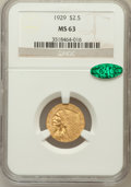Indian Quarter Eagles: , 1929 $2 1/2 MS63 NGC. CAC. NGC Census: (5551/2917). PCGS Population(3652/1629). Mintage: 532,000. Numismedia Wsl. Price fo...
