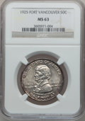 Commemorative Silver: , 1925 50C Vancouver MS63 NGC. NGC Census: (270/1691). PCGSPopulation (700/1982). Mintage: 14,994. Numismedia Wsl. Pricefor...
