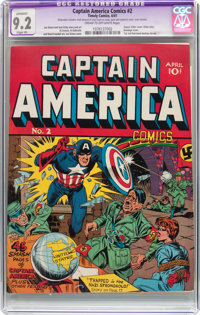 Captain America Comics #2 (Timely, 1941) CGC Apparent NM- 9.2 Slight (P) Cream to off-white pages