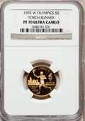 Modern Issues: , 1995-W G$5 Olympic/Torch Runner Gold Five Dollar PR70 Ultra CameoNGC. NGC Census: (0). PCGS Population (152). Numismedia ...