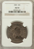 Early Half Dollars: , 1805 50C AU55 NGC. NGC Census: (10/655). PCGS Population (4/7).Mintage: 211,722. Numismedia Wsl. Price for problem free NG...