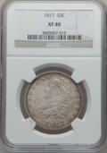 Bust Half Dollars: , 1817 50C XF40 NGC. NGC Census: (31/317). PCGS Population (67/359).Mintage: 1,215,567. Numismedia Wsl. Price for problem fr...