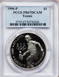 Modern Issues: , 1996-P $1 Olympic/Tennis Silver Dollar PR67 Deep Cameo PCGS. PCGSPopulation (59/1256). NGC Census: (9/1123). Numismedia W...