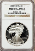 Modern Bullion Coins: , 2003-W $1 Silver Eagle PR70 Ultra Cameo NGC. NGC Census: (7540).PCGS Population (1290). Numismedia Wsl. Price for problem...