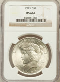 Peace Dollars: , 1923 $1 MS66+ NGC. NGC Census: (2880/89). PCGS Population(1624/46). Mintage: 30,800,000. Numismedia Wsl. Price forproblem...