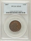 Half Cents: , 1807 1/2 C XF45 PCGS. PCGS Population (24/98). NGC Census: (14/98).Mintage: 476,000. Numismedia Wsl. Price for problem fre...