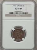 Indian Cents: , 1873 1C Open 3 AU50 NGC. NGC Census: (2/64). PCGS Population(30/165). Mintage: 11,676,500. Numismedia Wsl. Price for probl...