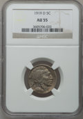 Buffalo Nickels: , 1919-D 5C AU55 NGC. NGC Census: (31/336). PCGS Population (39/477).Mintage: 8,006,000. Numismedia Wsl. Price for problem f...