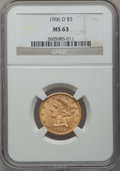 Liberty Half Eagles: , 1906-D $5 MS63 NGC. NGC Census: (597/396). PCGS Population(551/315). Mintage: 320,000. Numismedia Wsl. Price for problem f...