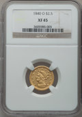 Liberty Quarter Eagles: , 1840-O $2 1/2 XF45 NGC. NGC Census: (13/82). PCGS Population(11/40). Mintage: 33,500. Numismedia Wsl. Price for problem fr...