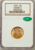 Liberty Half Eagles: , 1900 $5 MS63 NGC. CAC. NGC Census: (3425/1813). PCGS Population(2367/964). Mintage: 1,405,730. Numismedia Wsl. Price for p...