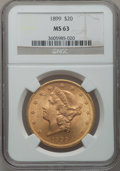 Liberty Double Eagles: , 1899 $20 MS63 NGC. NGC Census: (5414/1573). PCGS Population(2167/451). Mintage: 1,669,384. Numismedia Wsl. Price for probl...