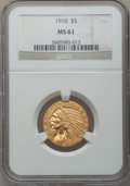 Indian Half Eagles: , 1910 $5 MS61 NGC. NGC Census: (1619/3193). PCGS Population(531/2208). Mintage: 604,250. Numismedia Wsl. Price for problem ...