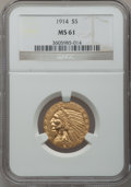 Indian Half Eagles: , 1914 $5 MS61 NGC. NGC Census: (649/1294). PCGS Population(222/1362). Mintage: 247,000. Numismedia Wsl. Price for problemf...