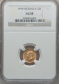 Commemorative Gold: , 1916 G$1 McKinley AU58 NGC. NGC Census: (66/2384). PCGS Population(129/4282). Mintage: 9,977. Numismedia Wsl. Price for pr...