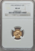 Commemorative Gold: , 1903 G$1 Louisiana Purchase/McKinley MS64 NGC. NGC Census:(507/878). PCGS Population (860/1054). Mintage: 17,500. Numismed...
