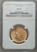 Indian Eagles: , 1916-S $10 AU55 NGC. NGC Census: (82/673). PCGS Population(94/697). Mintage: 138,500. Numismedia Wsl. Price for problem fr...