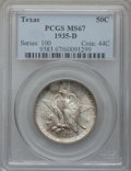 Commemorative Silver: , 1935-D 50C Texas MS67 PCGS. PCGS Population (199/4). NGC Census:(161/3). Mintage: 10,007. Numismedia Wsl. Price for proble...