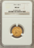 Indian Quarter Eagles, 1911 $2 1/2 MS64 NGC....