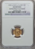 Commemorative Gold: , 1905 G$1 Lewis and Clark -- Improperly Cleaned -- NGC Details. AU.NGC Census: (1/1271). PCGS Population (6/2039). Mintage:...