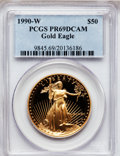 Modern Bullion Coins: , 1990-W G$50 One-Ounce Gold Eagle PR69 Deep Cameo PCGS. PCGSPopulation (3401/187). NGC Census: (1740/676). Mintage: 62,401....