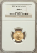 Modern Bullion Coins, 2007-W $5 Tenth-Ounce Gold Eagle MS69 NGC. NGC Census: (2754/5525).PCGS Population (245/150). Numismedia Wsl. Price for p...