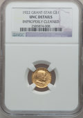 Commemorative Gold: , 1922 G$1 Grant With Star -- Improperly Cleaned -- NGC Details. Unc.NGC Census: (1/1238). PCGS Population (7/2178). Mintage...