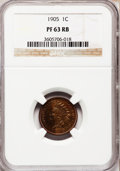Proof Indian Cents: , 1905 1C PR63 Red and Brown NGC. NGC Census: (28/258). PCGSPopulation (53/178). Mintage: 2,152. Numismedia Wsl. Price for p...