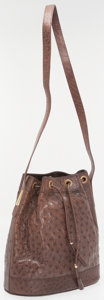 Luxury Accessories:Bags, Gucci Brown Ostrich Drawstring Shoulder Bag. ...