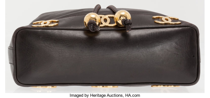 1754b43cdbe0 Chanel Black Lambskin Leather Drawstring Bucket Bag with Gold   Lot #76007    Heritage Auctions