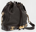 Luxury Accessories:Bags, Chanel Black Lambskin Leather Drawstring Bucket Bag with Gold CCLogos. ...